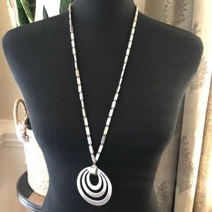 Monet Brushed Silver Tone Long Pendant Necklace